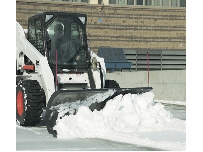 Bobcat Skid Steer with Snow Blade Attachment