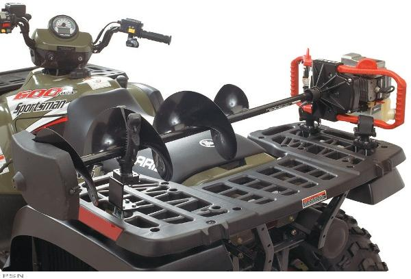 Ice auger rack cosmecol for Atv ice fishing accessories